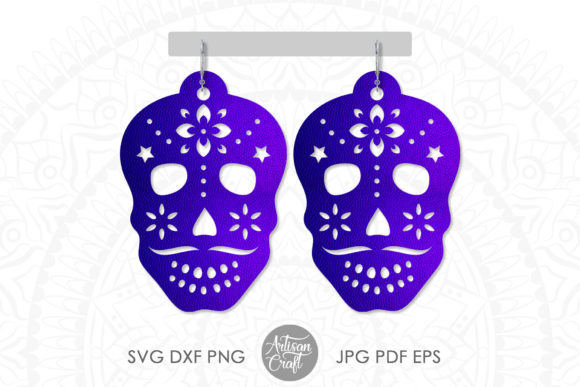 Print on Demand: Sugar Skull Earrings, Laser Cut Jewelry Graphic 3D SVG By Artisan Craft SVG