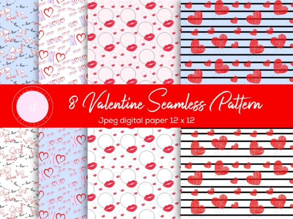 Valentine's Day Digital Paper Graphic Patterns By Island Tulip Designs Co