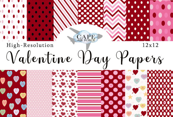 Print on Demand: Valentines Day Digital Papers Graphic Patterns By CapeAirForce