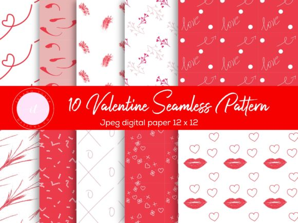 Valentine's Day Doodle Patterns Graphic Patterns By Island Tulip Designs Co