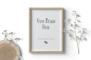 Print on Demand: Vertical Wood Frame Mockup, Floral Graphic Product Mockups By CarryBeautySVG