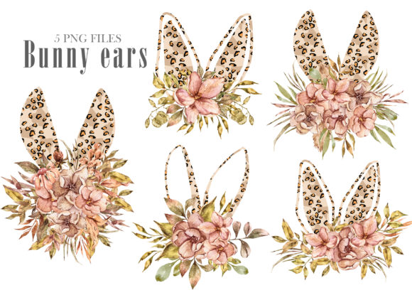 Print on Demand: Watercolor Leopard Bunny Ears Clipart Gráfico Ilustraciones Por Tiana Geo