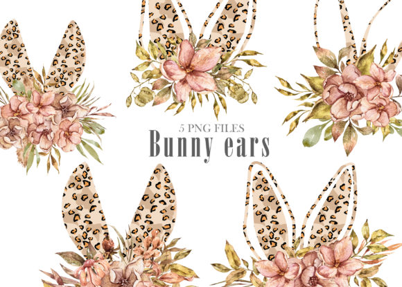 Watercolor Leopard Bunny Ears Clipart Graphic Download