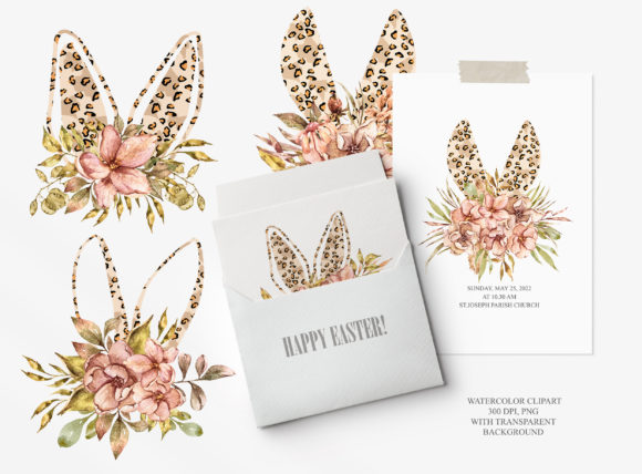 Watercolor Leopard Bunny Ears Clipart Graphic Item