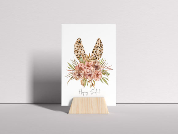Watercolor Leopard Bunny Ears Clipart Graphic Preview