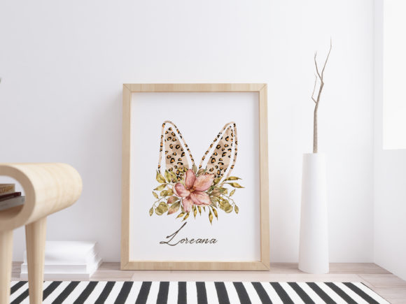 Watercolor Leopard Bunny Ears Clipart Graphic Image