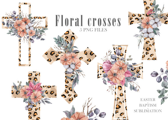 Watercolor Leopard Cross Png. Graphic