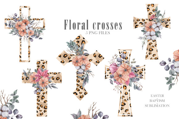Watercolor Leopard Cross Png. Graphic Download
