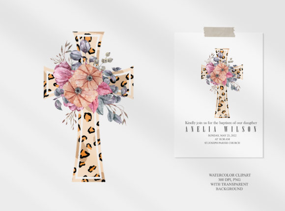 Watercolor Leopard Cross Png. Graphic Item