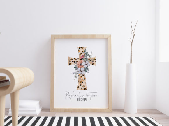 Watercolor Leopard Cross Png. Graphic Preview
