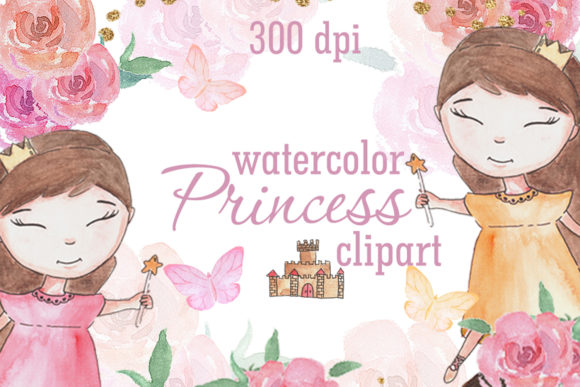 Watercolor Princess Illustration PNG Graphic Illustrations By SleptArt