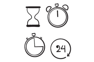 Print on Demand: Doodle  Time and Clock Set Graphic Objects By GwensGraphicstudio