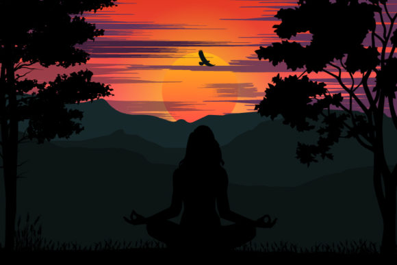 Print on Demand: Girl Yoga with Sunset Silhouette Graphic Illustrations By curutdesign