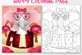 A Cute Elephant - Coloring Pages Graphic Coloring Pages & Books Kids By wijayariko