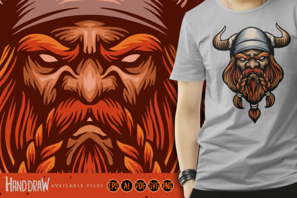 Print on Demand: Ancient Head Viking Warrior Mascot SVG Graphic Illustrations By artgrarisstudio