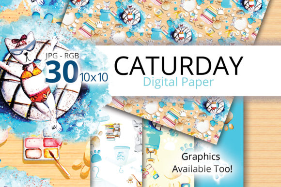 Print on Demand: Caturday Watercolor Digital Paper Graphic Patterns By Digital Doodlers
