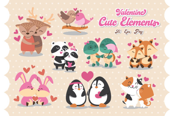 Cute Animal Couple Valentine's Day Graphic Crafts By AllmoStudio