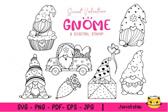 Cute Valentine Gnome Coloring Outline Graphic Crafts By Janatshie