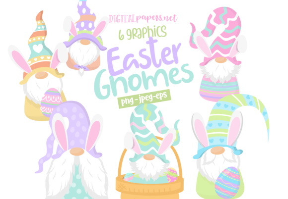 Print on Demand: Easter Gnomes Clipart Set Graphic Illustrations By DigitalPapers