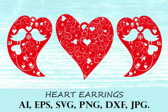 Print on Demand: Heart Earring Red Graphic Crafts By YanIndesign
