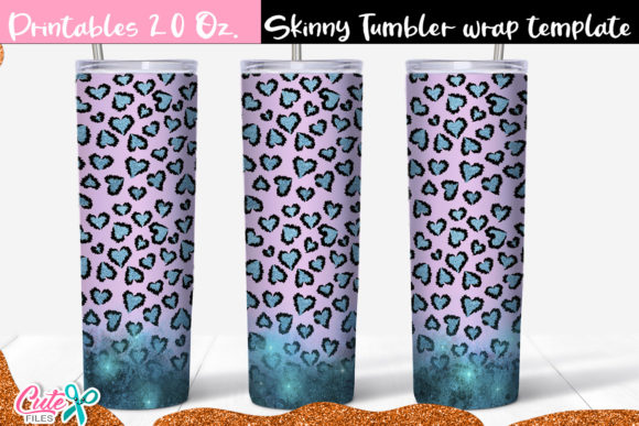 Leopard Heart Skinny Tumbler Sublimation Graphic Print Templates By Cute files