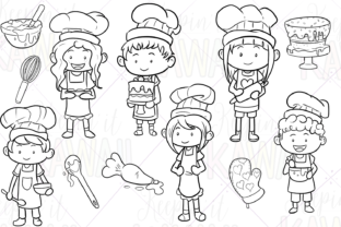 Print on Demand: Little Bakers Digital Stamps Graphic Illustrations By Keepinitkawaiidesign