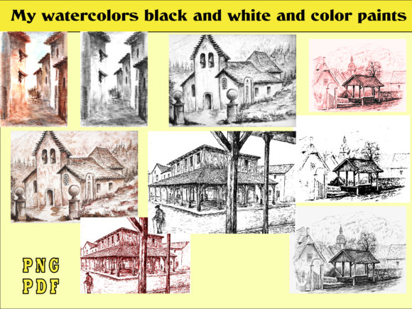 Print on Demand: My Watercolors Black and White and Color Graphic Illustrations By kdp Edition