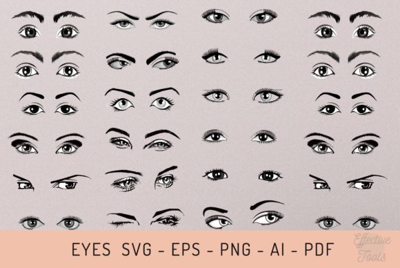 Pair of Eyes  Svg - Eps - Png - Ai - Pdf Graphic Objects By EfficientTools
