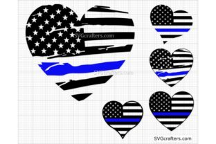 Print on Demand: Police Heart SVG, Heart Blue Line Svg Graphic Crafts By SVGcrafters