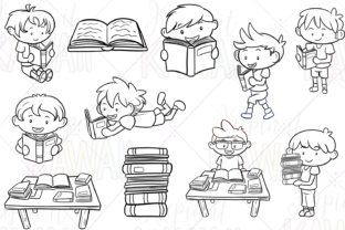 Print on Demand: Reading Boys Digital Stamps Graphic Illustrations By Keepinitkawaiidesign