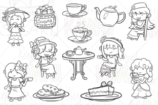 Print on Demand: Tea Party Digital Stamps Graphic Illustrations By Keepinitkawaiidesign