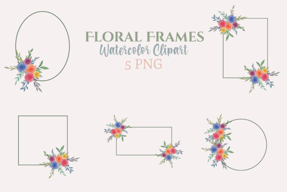 Watercolor Green Floral Frames Graphic Illustrations By roosmom