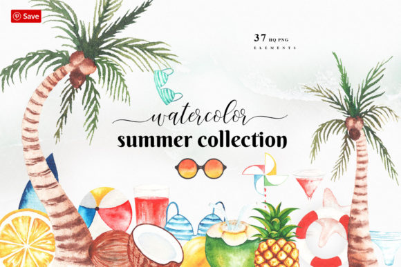 Watercolor Summer Tropical Clip Art Graphic Illustrations By Amit
