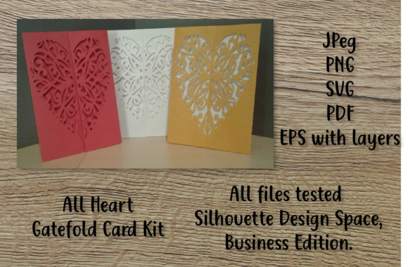 Print on Demand: With All My Heart - Gatefold Card Kit Graphic Print Templates By sewmanygreatdesigns