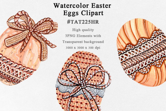 3 Wood Easter Eggs Watercolor Clipart Graphic Illustrations By Tat225hr