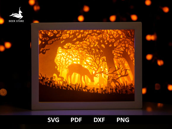3D Shadow Box Papercut Lightbox Template Graphic 3D Shadow Box By Deer store