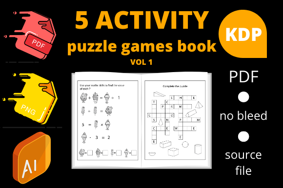 Print on Demand: 5 Activity Puzzle Games Book for Kids V1 Graphic KDP Interiors By Dunkyshot
