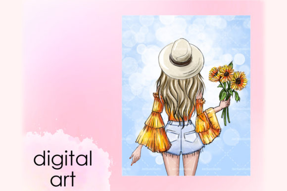 Print on Demand: A Bouquet of Sunflowers, Blonde Wall Art Graphic Illustrations By arctiumstudio