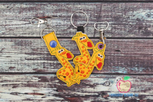 Adorable Giraffe Cartoon ITH Key Fob Wild Animals Embroidery Design By embroiderydesigns101