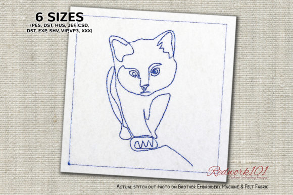 Adorable Kitten Cats Embroidery Design By Redwork101