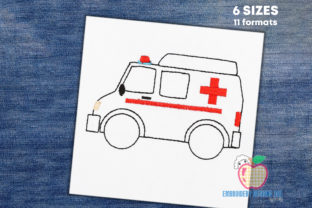 Ambulance Van on Road Sketch Transportation Embroidery Design By embroiderydesigns101