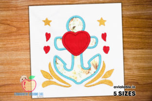 Anchor with Heart Applique Beach & Nautical Embroidery Design By embroiderydesigns101