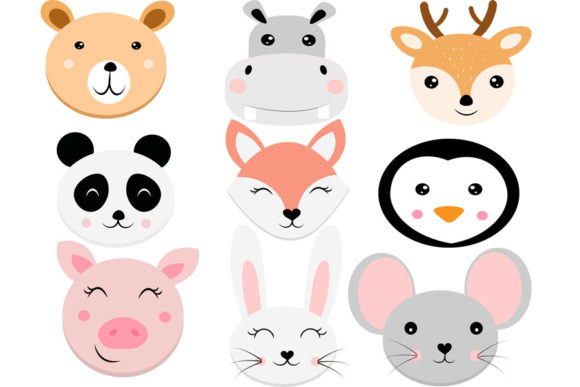 Print on Demand: Animal Faces Svg,  Svg, Bear Svg, Cute a Graphic Illustrations By Lillyrosy