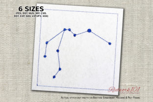 Aquarius Star Constellation Redwork Backgrounds Embroidery Design By Redwork101