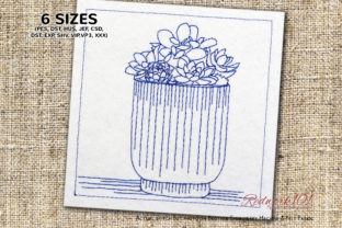 Aries Plants Redwork Single Flowers & Plants Embroidery Design By Redwork101