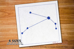 Aries Star Constellation Redwork Backgrounds Embroidery Design By Redwork101