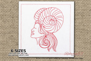 Aries Star Sign Redwork Design Backgrounds Embroidery Design By Redwork101