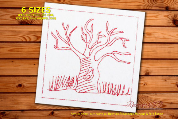 Bare Tree Standing Design Forest & Trees Embroidery Design By Redwork101