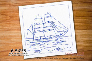 Barque Ship in the Sea Redwork Beach & Nautical Embroidery Design By Redwork101