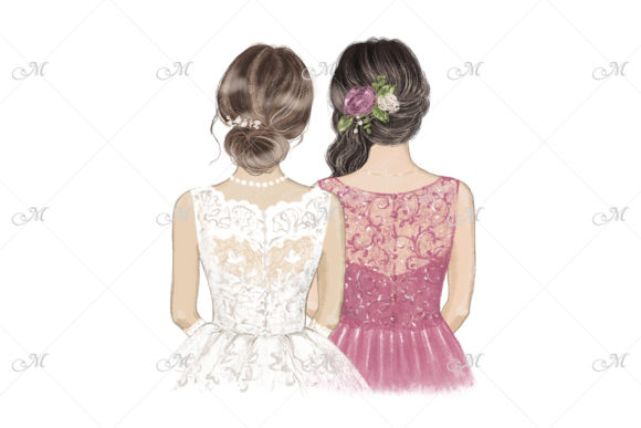 Best Friend on Wedding Day Illustration Graphic Illustrations By MaddyZ